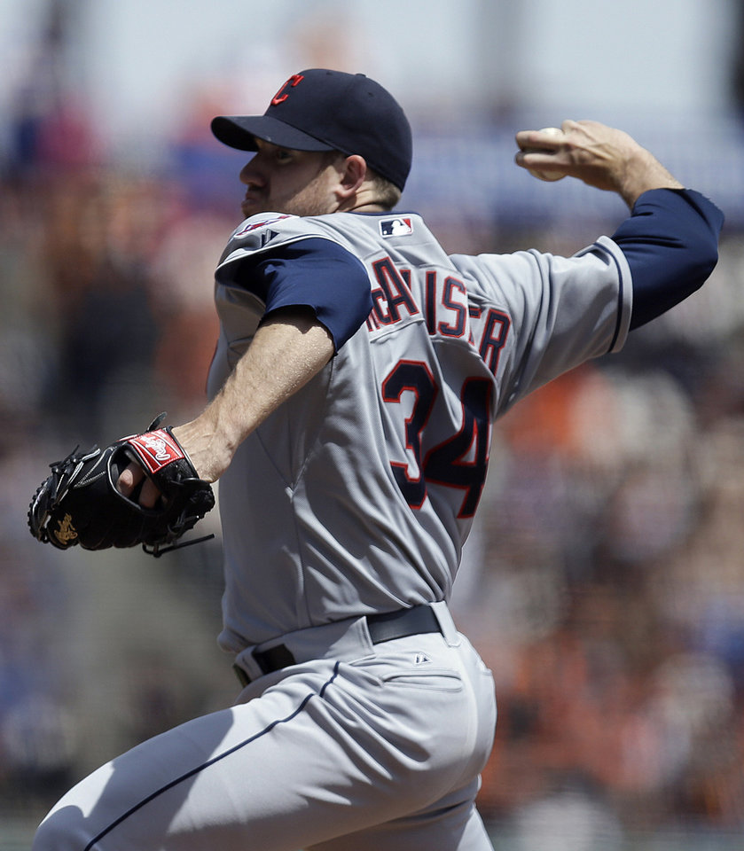Photo - Cleveland Indians' Zach McAllister works against the San Francisco Giants in the first inning of a baseball game on Saturday, April 26, 2014, in San Francisco. (AP Photo/Ben Margot)