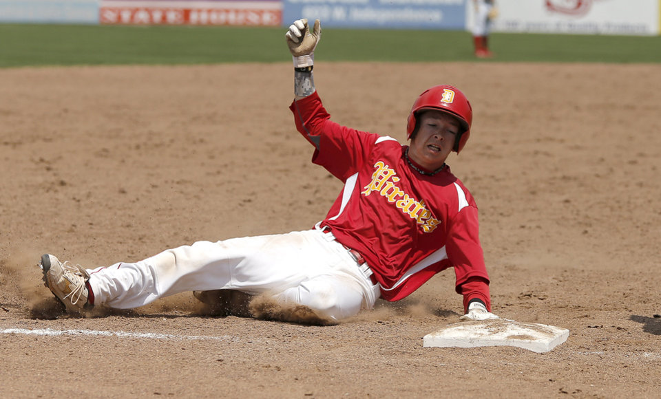 Dale's Tanner Nelson slides to third base in the sixth inning during the Class 2A state baseball tournament championship game in Shawnee, Okla., Saturday, May 11, 2013. Photo by Bryan Terry, The Oklahoman