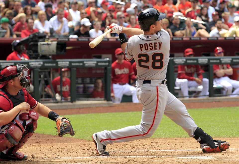 Photo -   San Francisco Giants' Buster Posey (28) watches his home run ball clear the fence as Arizona Diamondbacks' Miguel Montero looks on during the third inning in an MLB baseball game Sunday, April 8, 2012, in Phoenix.(AP Photo/Ross D. Franklin)