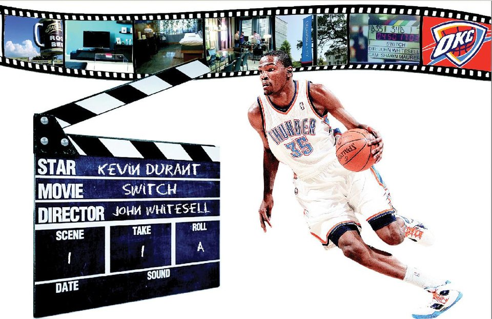 "Kevin Durant is starring in the movie ""Switch."" Illustration by Phillip Baeza, The Oklahoman"