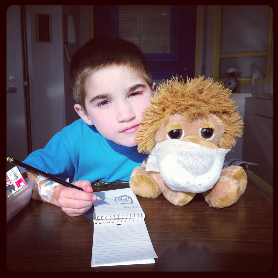 Jhett Skaggs poses with a stuffed toy. Photo provided. <strong></strong>