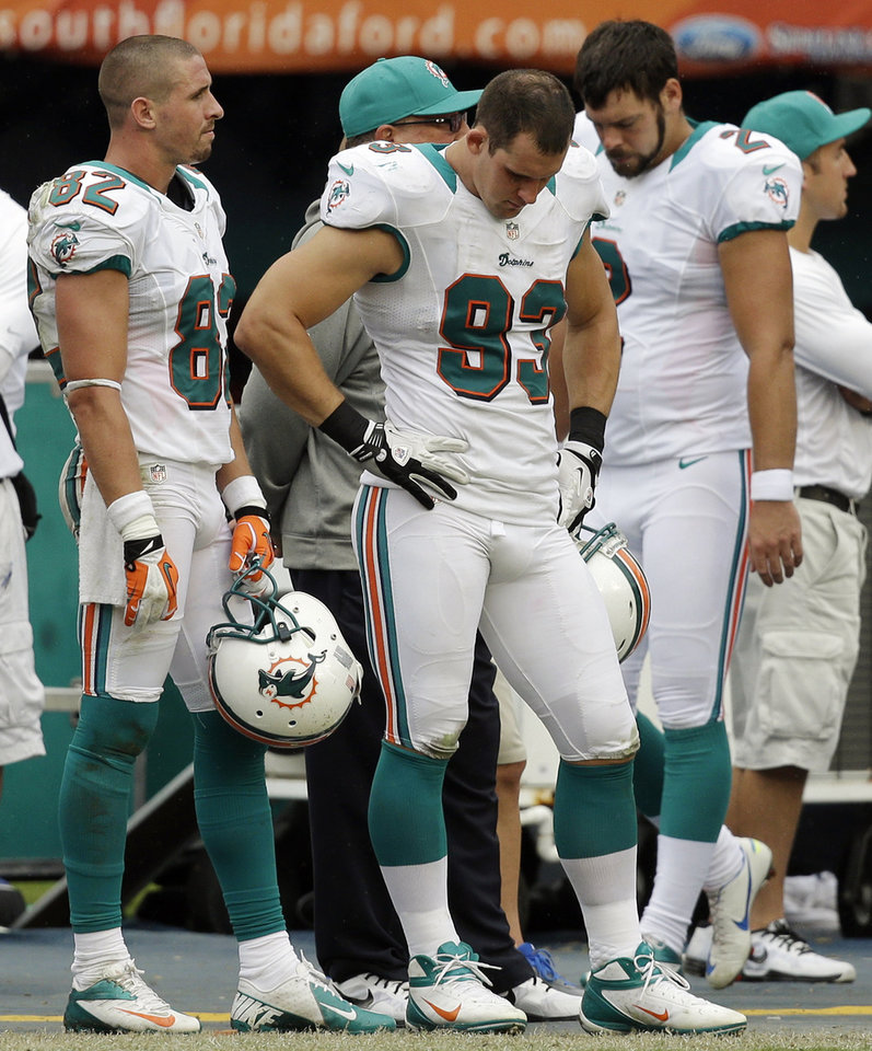 Photo -   Miami Dolphins wide receiver Brian Hartline (82) and linebacker Jason Trusnik (93) stand on the sideline after the Dolphins missed a field goal attempt in overtime of an NFL football game against the New York Jets in Miami, Sunday, Sept. 23, 2012. The Jets won 23-20. (AP Photo/Lynne Sladky)