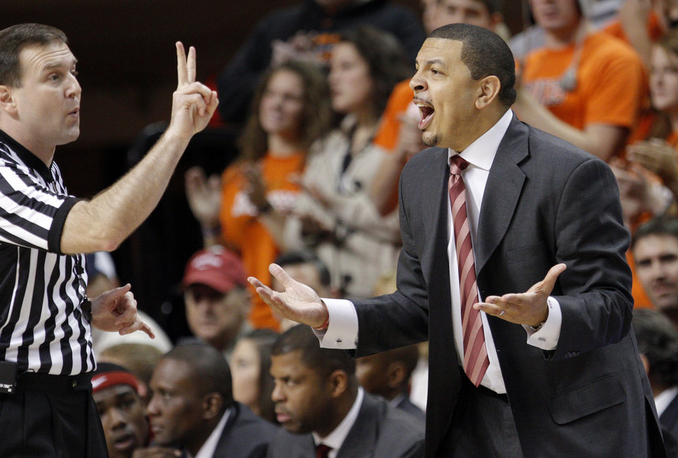 Photo - OU head coach Jeff Capel argues a call during the Bedlam men's college basketball game between the University of Oklahoma Sooners and Oklahoma State University Cowboys at Gallagher-Iba Arena in Stillwater, Okla., Saturday, February, 5, 2011. Photo by Sarah Phipps, The Oklahoman