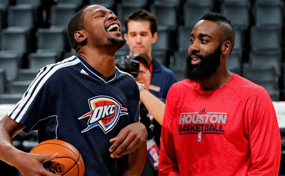 Photo - during the NBA basketball game between the Houston Rockets and the Oklahoma City Thunder at the Chesapeake Energy Arena on Wednesday, Nov. 28, 2012, in Oklahoma City, Okla.   Photo by Chris Landsberger, The Oklahoman