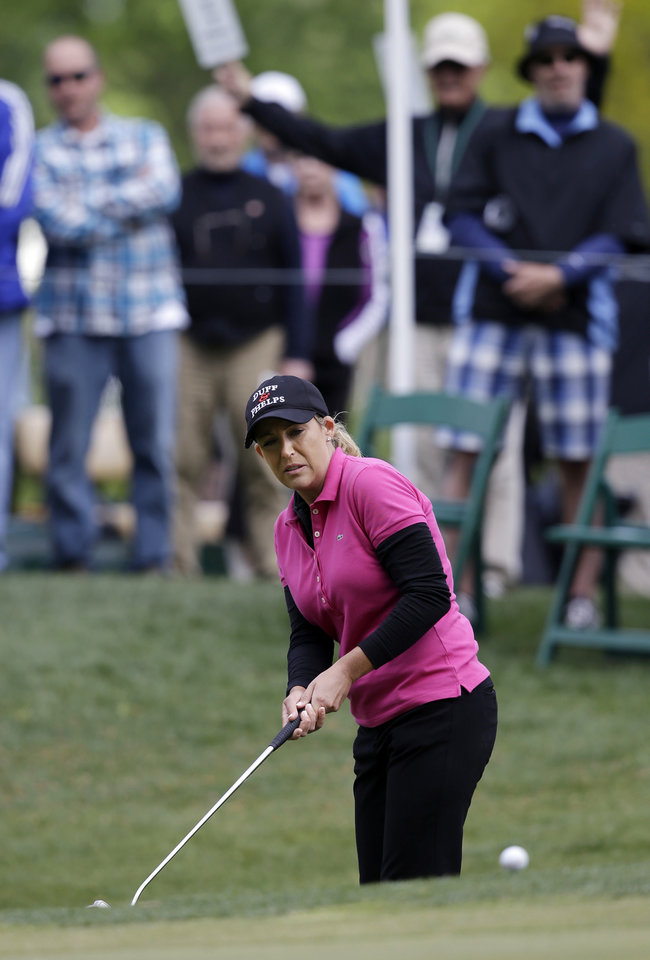 Cristie Kerr watches her eagle putt on the 15th green during the third round of the Kingsmill Championship LPGA golf tournament in Williamsburg, Va., Saturday, May 4, 2013. Kerr missed the putt, but birdied the hole. (AP Photo/Steve Helber)