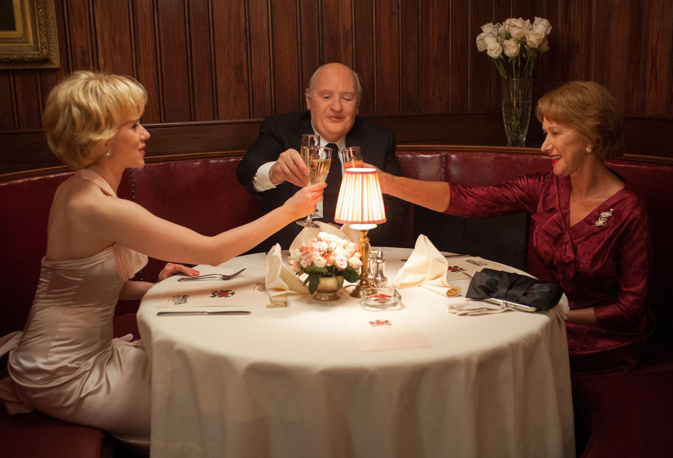 Photo - This film image released by Fox Searchlight shows Scarlett Johansson as Janet Leigh, left, Anthony Hopkins as Alfred Hitchcock and Helen Mirren as Alma Reville in