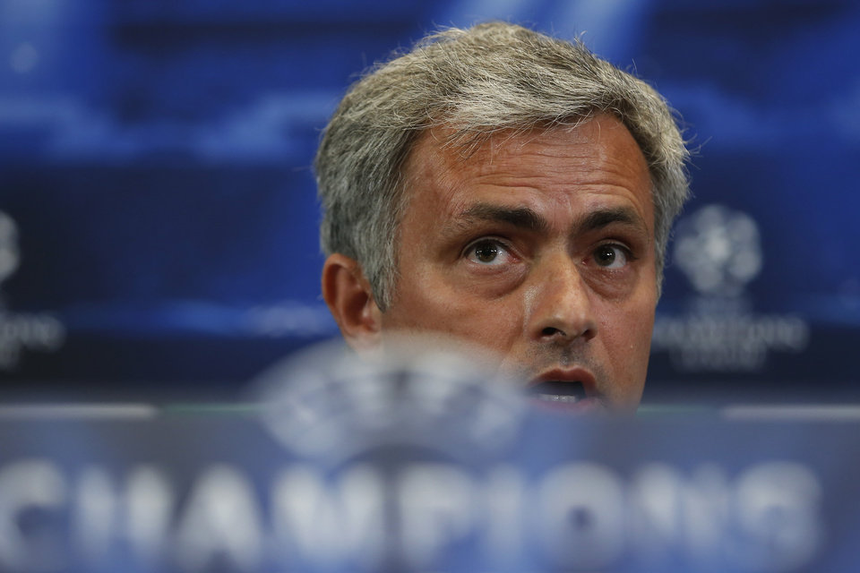 Photo - Chelsea's coach Jose Mourinho from Portugal speaks during a press conference ahead of Tuesday's Champions League, semifinal, first leg, soccer match against Atletico Madrid, at the Vicente Calderon stadium, in Madrid, Spain, Monday, April 21, 2014. (AP Photo/Andres Kudacki)