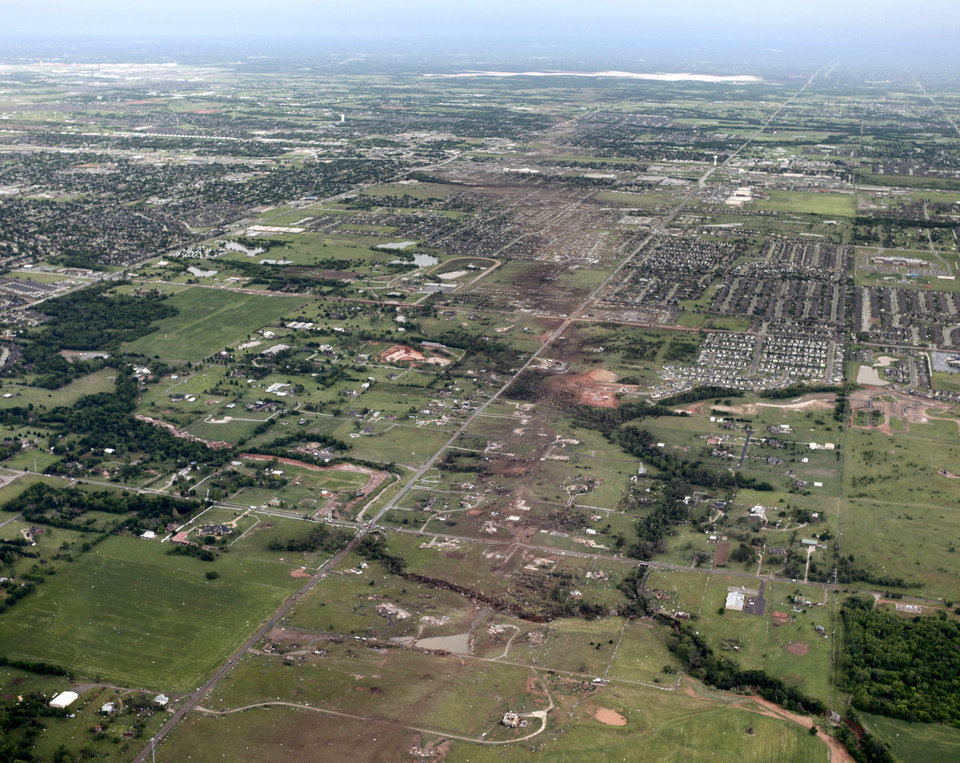 The path of the May 20th tornado can be seen looking east in Moore, OK, Tuesday, May 21, 2013, By Paul Hellstern, The Oklahoman