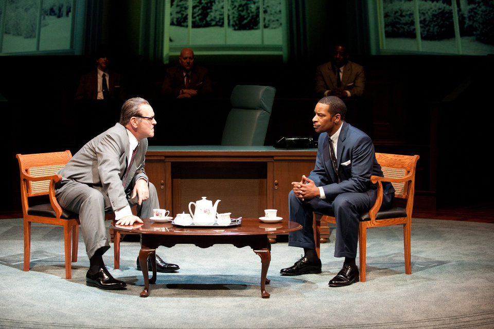 "This theater image released by Columbia University shows Jack Willis as Lyndon Johnson, left, and Kenajuan Bentley as the Rev. Martin Luther King Jr. in a scene from ""All The Way"" by Robert Schenkkan. Schenkkan�s �All the Way� have been named the inaugural winners of a theater award honoring the late Sen. Edward Kennedy. Columbia University on Friday said both playwrights will get the award as well as $100,000 each, one of the largest prizes given for dramatic writing. (AP Photo/Columbia University, Jenny Graham)"