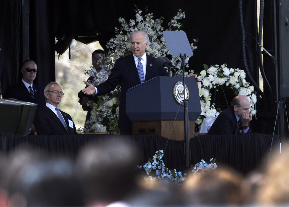 Vice President Joe Biden speaks at a memorial service for slain Massachusetts Institute of Technology campus officer Sean Collier at MIT in Cambridge, Mass. Wednesday, April 24, 2013. (AP Photo/Elise Amendola)