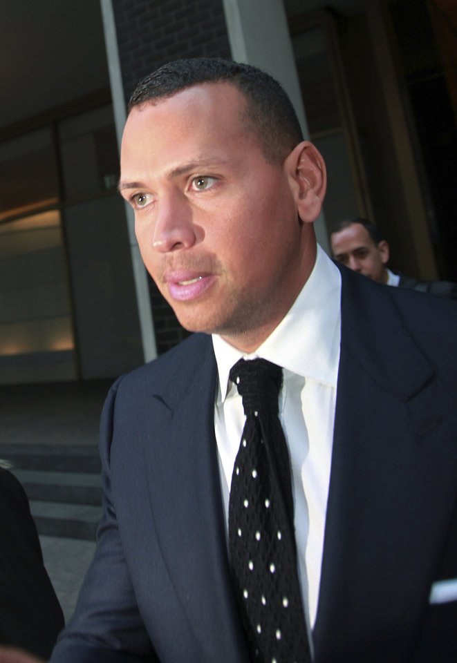 Photo - FILE- In this Sept. 30, 2013 file photo, Alex Rodriguez leaves the offices of Major League Baseball in New York. Rodriguez has accepted his season-long suspension from Major League Baseball, the longest penalty in the sport's history related to performance-enhancing drugs. Rodriguez withdrew his lawsuits against Major League Baseball, Commissioner Bud Selig and the players' association to overturn his season-long suspension on Friday, Feb. 7, 2014. The notices of dismissal were filed in federal court in Manhattan. (AP Photo/David Karp, File)