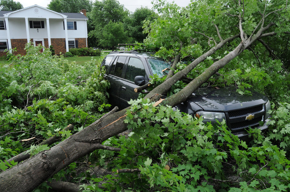 Photo - A fallen tree damages a vehicle after a storm in St. Joseph Township, Mich., Tuesday, July 1, 2014. Severe thunderstorms packing high winds knocked down trees and power lines across parts of Michigan, leaving more than 230,000 without power and injuring a firefighter. (AP Photo/The Herald-Palladium, Don Campbell)