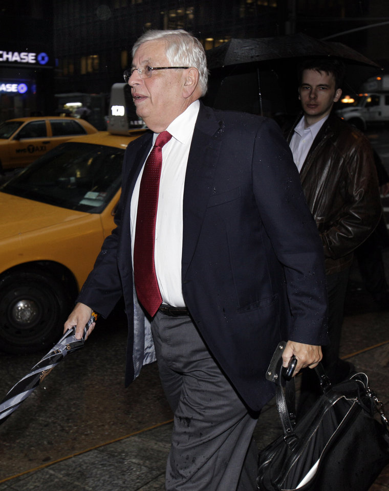 Photo - NBA Commissioner David Stern arrives for the NBA labor negotiations, in New York,  Wednesday, Oct. 19, 2011. NBA owners and players are meeting for a second straight day, shortly after finishing a 16-hour marathon with a federal mediator.(AP Photo/Richard Drew) ORG XMIT: NYRD104