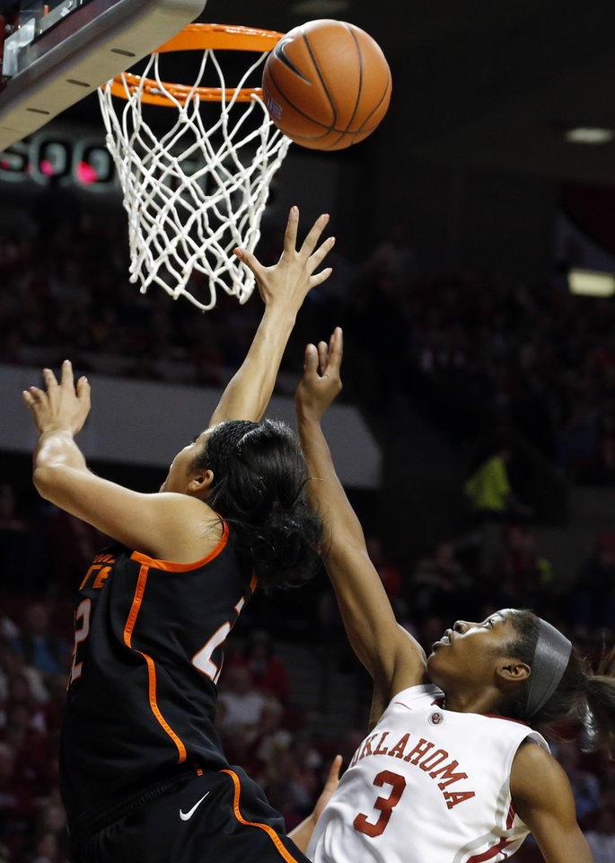Oklahoma State's Brittney Martin (22) shoots a lay up as Oklahoma's Aaryn Ellenberg (3) during the women's Bedlam basketball game between Oklahoma State University and Oklahoma at the Lloyd Noble Center in Norman, Okla., Sunday, Feb. 10, 2013.Photo by Sarah Phipps, The Oklahoman
