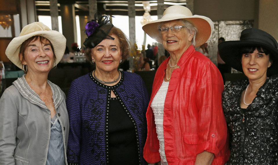 From left, Karen Klontz, Lou Kerr, Donna Muchmore and Mary Blankenship Pointer pose for a photo at the Women of the South's 3rd annual Magnolia Brunch in the Petroleum Club in Oklahoma City, Saturday, April 20, 2013. Lou Kerr was the honoree at the brunch. Photo by Nate Billings, The Oklahoman