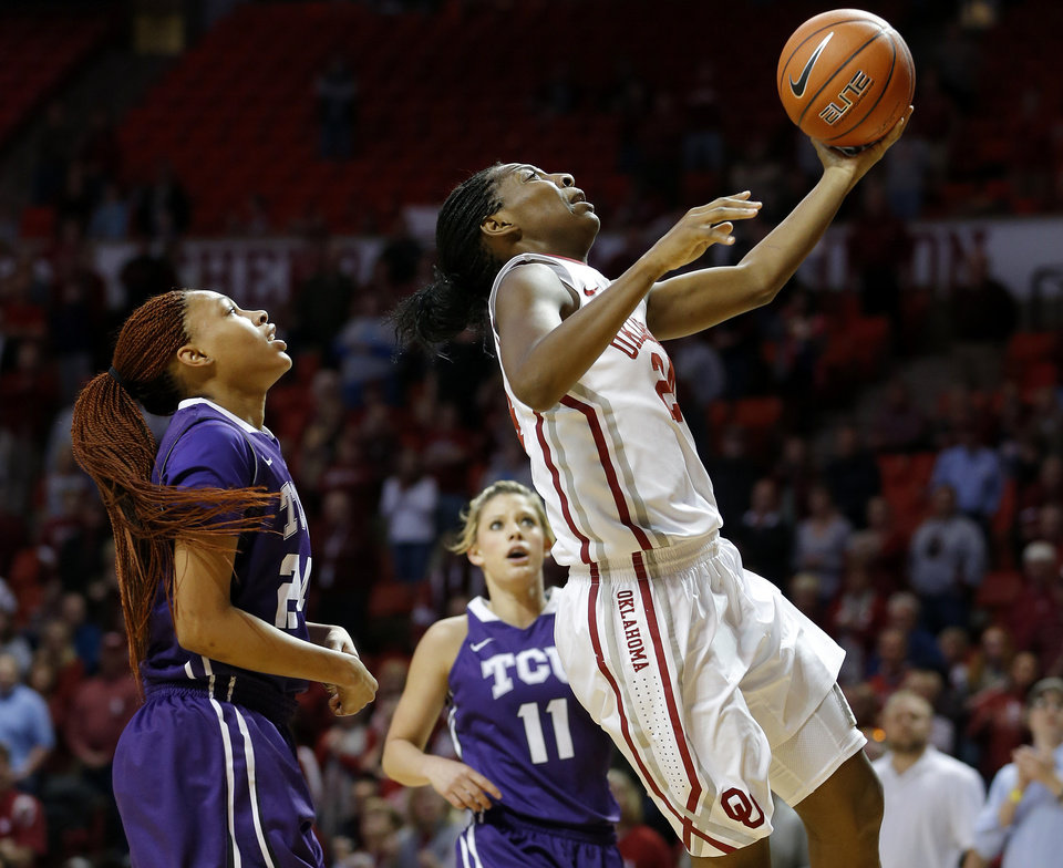 Oklahoma's Sharane Campbell (24) goes to the basket past TCU's Natalie Ventress (24) and Kamy Cole (11) during a women's college basketball game between the University of Oklahoma and TCU at the Llyod Noble Center in Norman, Okla., Wednesday, Jan. 30, 2013. Photo by Bryan Terry, The Oklahoman