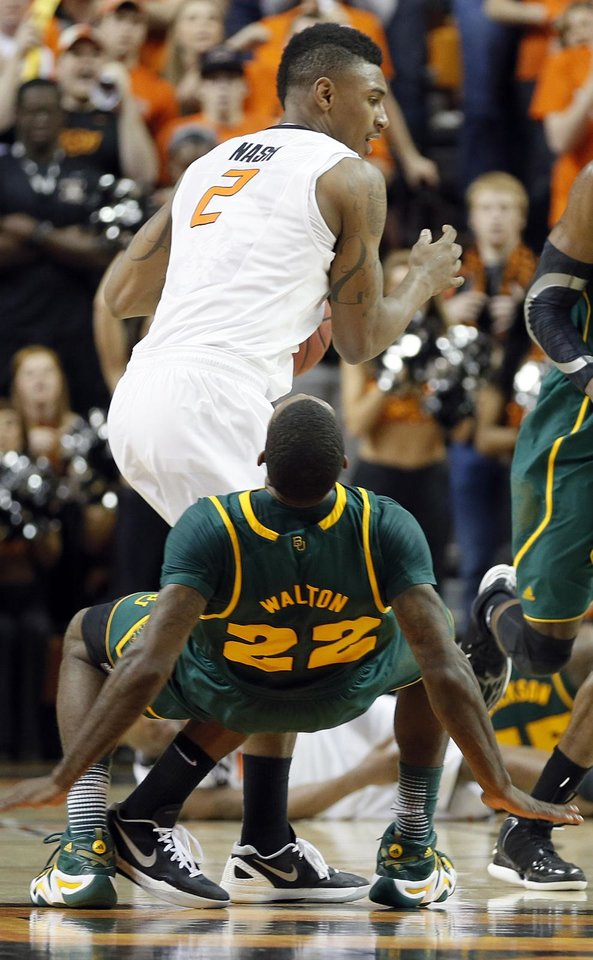 Oklahoma State 's Le'Bryan Nash (2) collides with Baylor's A.J. Walton (22) during the college basketball game between the Oklahoma State University Cowboys (OSU) and the Baylor University Bears (BU) at Gallagher-Iba Arena on Wednesday, Feb. 5, 2013, in Stillwater, Okla. Photo by Chris Landsberger, The Oklahoman