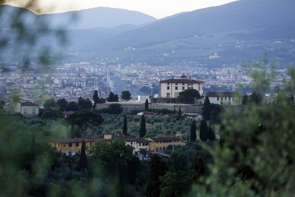 Photo - A view of the Forte Belvedere in Florence, Italy, Saturday, May 24, 2014. Kim Kardashian and Kanye West will wed and host a reception at Florence's imposing 16th-century Belvedere Fort on May 24, according to a spokeswoman at the Florence mayor's office. The couple rented the fort, located next to Florence's famed Boboli Gardens, for 300,000 euros ($410,000) and a Protestant minister will preside over the ceremony. Belvedere Fort was built in 1590, believed using plans by Don Giovanni de' Medici. Located near the Arno River, it offers a panoramic view of Florence and the surrounding Tuscan hills. (AP Photo/Gregorio Borgia)
