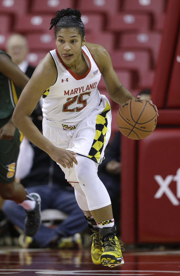 Photo - ADVANCE FOR WEEKEND EDITIONS, MARCH 1-2 - FILE - In this Dec. 9, 2013 file photo, Maryland forward Alyssa Thomas drives the ball in the second half of an NCAA college basketball game against Siena in College Park, Md. Thomas is poised to become the school's leading scorer and rebounder, and Sunday her No. 25 will be raised to the rafters of Maryland's home court.  (AP Photo/Patrick Semansky, File)