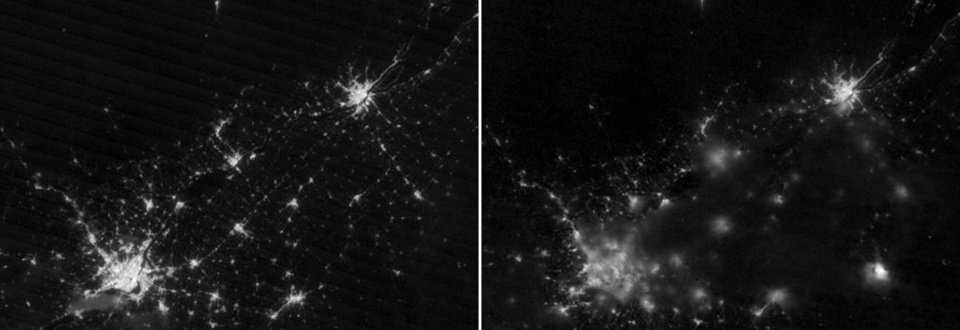 Photo - In this combo satellite image provided by the NASA Earth Observatory, Lac-Megantic, Quebec, lower right, is shown on combo satellite images from Thursday, July 4, 2013, left image, and during the fiery derailment of an oil train, on Saturday, July 6, right image. A glow from the explosions can be seen in lower right of the image taken July 6. At lower left, is Montreal, and Quebec City is seen, at top right. (AP Photo/NASA Earth Observatory via The Canadian Press)