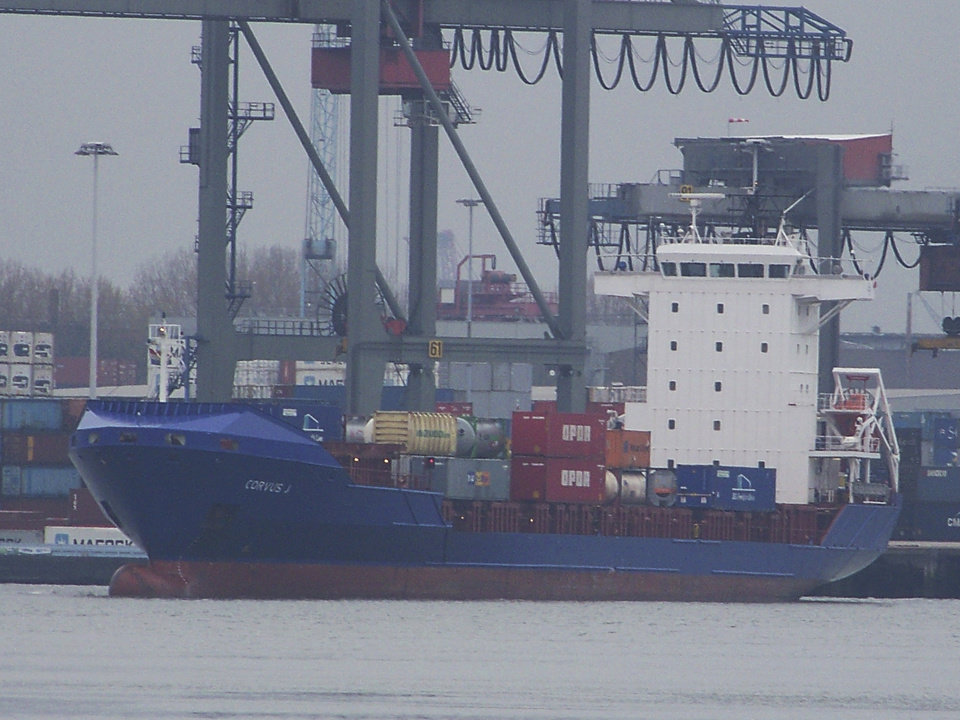 In this photograph released by Scheepvaartnieuws.blogspot.nl the Corvus J. cargo ship is seen in Rotterdam, Netherlands, 2012. Four crew members of cargo ship Baltic Ace died and seven were missing in the icy waters of the North Sea, after the Corvus J.  collided with the Baltic Ace and sank off the Dutch coast Wednesday night Dec. 5. 2012 rescuers said. The 148-meter (485-foot) Baltic Ace collided with the 134-meter (440-foot) container ship Corvus J in darkness near busy shipping lanes some 65 kilometers (40 miles) off the coast of the southern Netherlands. The Baltic Ace, carrying a cargo of cars, had a crew of 24 which was forced to abandon ship as it sank quickly. (AP Photo/Michel Kodde for Scheepvaartnieuws.blogspot.nl) NO SALES, MANDATORY CREDIT