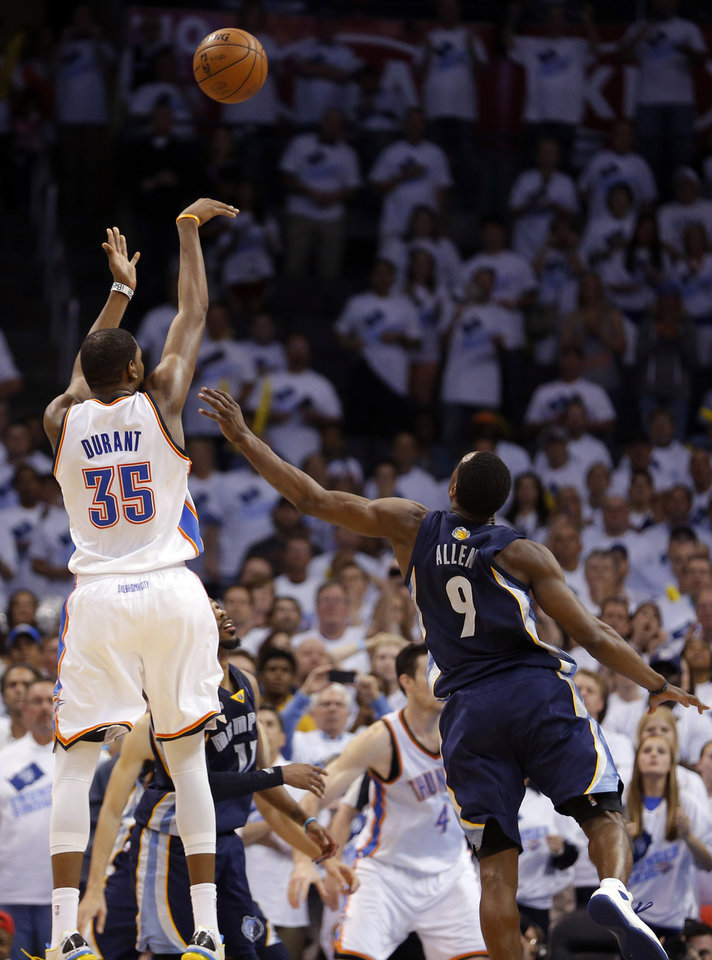 Photo - Oklahoma City's Kevin Durant (35) misses his final shot over Memphis' Tony Allen (9) during Game 5 in the second round of the NBA playoffs between the Oklahoma City Thunder and the Memphis Grizzlies at Chesapeake Energy Arena in Oklahoma City, Wednesday, May 15, 2013. Photo by Sarah Phipps, The Oklahoman