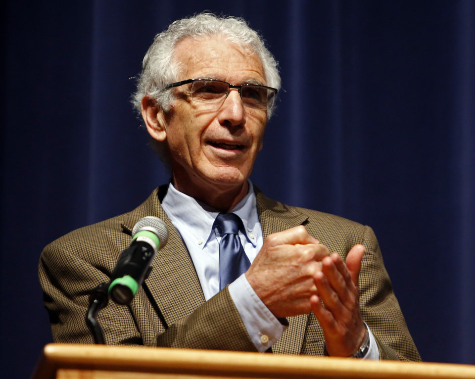 Robert J. Marzano, PhD. education researcher and cofounder of Marzano Research Laboratory in Colorado , speaks at the Norman Public Schools Convocation at the start of the school year on Thursday, Aug. 15, 2013 in Norman, Okla. Photo by Steve Sisney, The Oklahoman