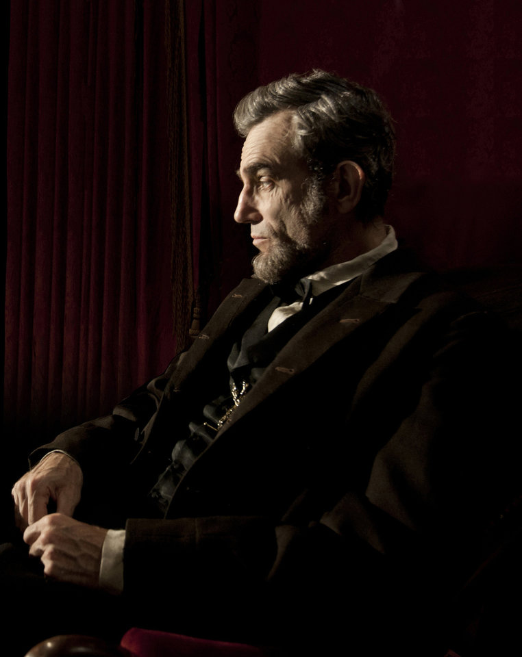 "FILE - This publicity film image released by DreamWorks and Twentieth Century Fox shows Daniel Day-Lewis portraying Abraham Lincoln in the film ""Lincoln.""  Best-picture prospects for Oscar Nominations on Thursday, Jan. 10, 2013, include, �Lincoln,� directed by Steven Spielberg; �Zero Dark Thirty,� directed by Kathryn Bigelow; �Les Miserables,� directed by Tom Hooper; �Argo,� directed by Ben Affleck; �Django Unchained,� directed by Quentin Tarantino; and �Life of Pi,� directed by Ang Lee.  (AP Photo/DreamWorks, Twentieth Century Fox, David James, file)"