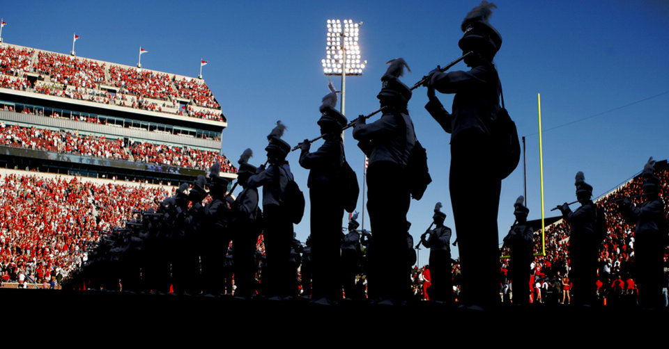 The Pride of Oklahoma performs before the college football game between the University of Oklahoma Sooners (OU) and Florida A&M Rattlers at Gaylord Family—Oklahoma Memorial Stadium in Norman, Okla., Saturday, Sept. 8, 2012. Photo by Bryan Terry, The Oklahoman