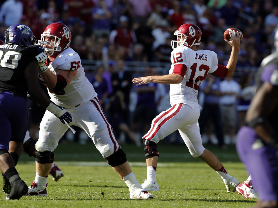 Oklahoma\'s Landry Jones (12) throws during the second half of the college football game where the University of Oklahoma Sooners (OU) defeated the Texas Christian University Horned Frogs (TCU) 24-17 at Amon G. Carter Stadium in Fort Worth, Texas, on Saturday, Dec. 1, 2012. Photo by Steve Sisney, The Oklahoman