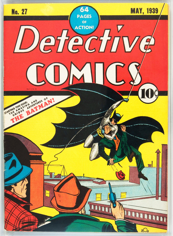 This photo provided by Heritage Auction Galleries shows a 1939 copy of Detective Comics No. 27, featuring the first appearance of Batman.  AP Photo