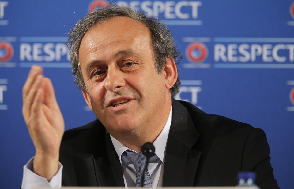 "Photo - FILE - In this Saturday, Feb 22, 2014 file photo UEFA President Michel Platini  speaks during a press conference, one day prior to the UEFA EURO 2016 qualifying draw at the Acropolis Convention Centre in Nice, southeastern France. Seeking to bolster national team football amid the rampant success of club competitions, UEFA's 54 member countries voted Thursday to create the Nations League. UEFA boosted the new event by guaranteeing it would feed into qualifying for the 2020 European Championship. It could later be incorporated into European qualifying for the 2022 World Cup. ""This is a very important decision for the future of football at the level of national teams,"" UEFA President Michel Platini said Thursday after the unanimous vote at European football's annual congress.. (AP Photo/Lionel Cironneau, File)"