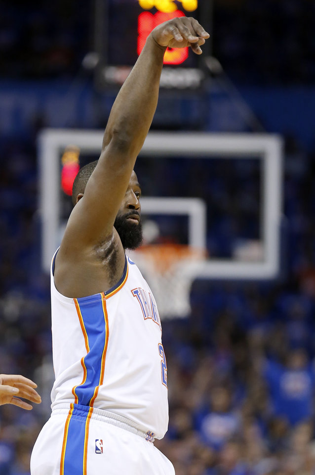 Photo - Oklahoma City's Raymond Felton (2) reacts after a 3-point basket during Game 4 in the first round of the NBA playoffs between the Portland Trail Blazers and the Oklahoma City Thunder at Chesapeake Energy Arena in Oklahoma City, Sunday, April 21, 2019.  Photo by Sarah Phipps, The Oklahoman