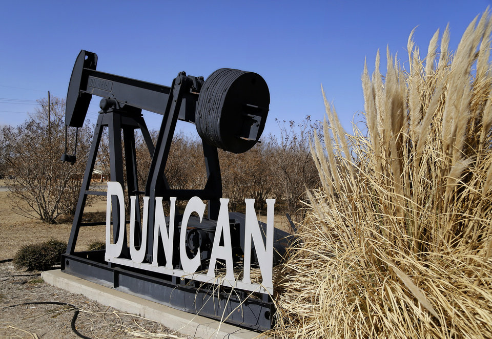 This sign welcomes visitors entering Duncan from the south on US Highway 81. .  Photo taken Feb. 13, 2014.      Photo by Jim Beckel, The Oklahoman