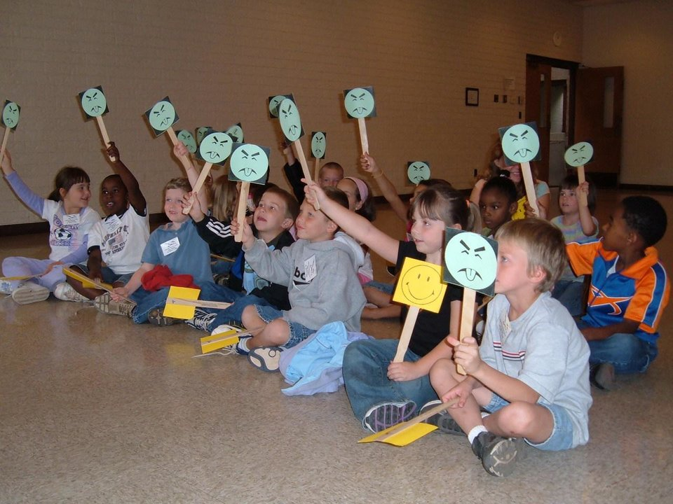 Children raise the Mr Yuk paddle when shown a container of something that can poison us<br/><b>Community Photo By:</b> Jerry Lojka, PIO<br/><b>Submitted By:</b> Jerry,