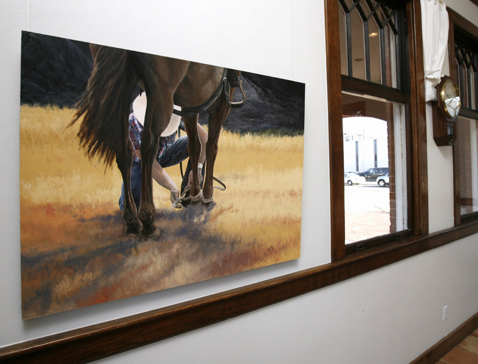Photo - Art by artist Rick Fry is on display at the Performing Arts Studio gallery at the Norman Depot in Norman, Okla. on Friday, Feb. 6, 2009.   Photo by Steve Sisney, The Oklahoman