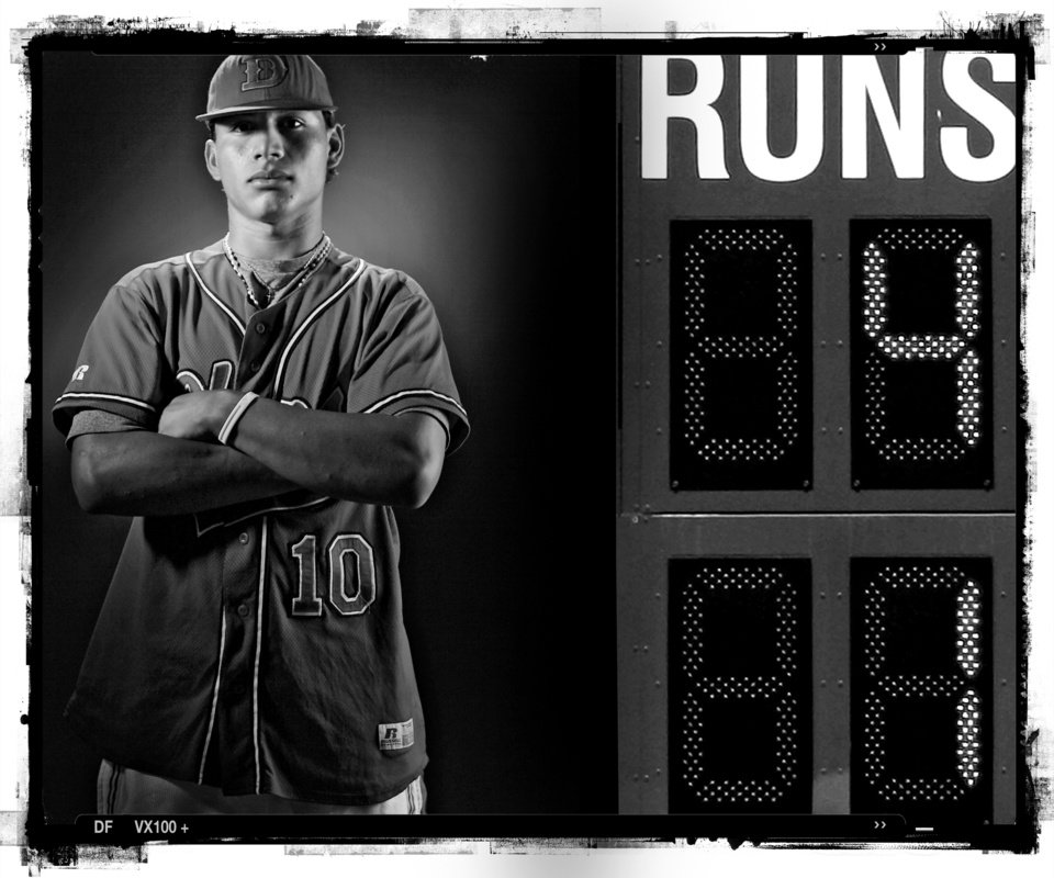 SECOND PLACE, PHOTO PACKAGE: Dover High School\'s Eddie Cervantes baseball player of the year Spring sports honor roll shot in the OPUBCO studio on Thursday, May 22, 2008, in Oklahoma City, Okla. staff photo Illustration by CHRIS LANDSBERGER