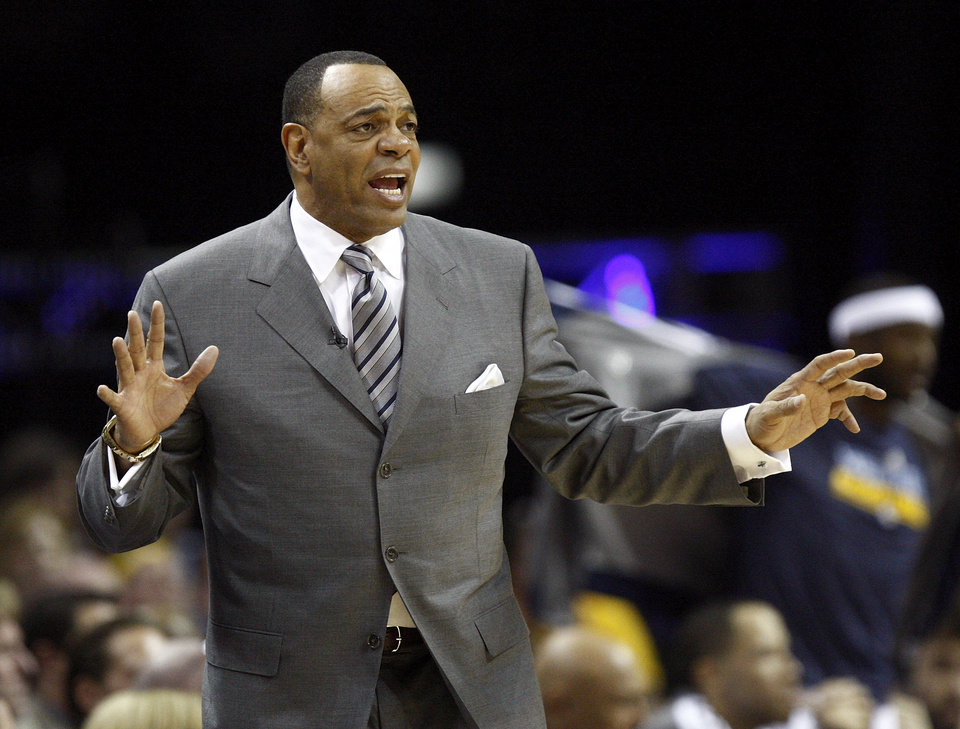 Photo - Memphis coach Lionel Hollins gives instructions to his players during Game 3 in the second round of the NBA basketball playoffs between the Oklahoma City Thunder and Memphis Grizzles at the FedExForum in Memphis, Tenn.,  Saturday, May 11, 2013. Photo by Nate Billings, The Oklahoman
