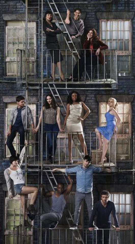 (l-r) top row; Anjelica Huston as Eileen Rand, Christian Borle as Tom Levitt, Debra Messing as Julia Houston; middle row; Jeremy Jordan as Jimmy Collins, Katharine McPhee as Karen Cartwright, Jennifer Hudson as Veronica Moore, Megan Hilty as Ivy Lynn; bottom row; Krysta Rodriguez as Ana Vargas, Leslie Odom Jr as Sam Strickland, Andy Mientus as Kyle Bishop, Jack Davenport as Derek Wills -- (Photo by: Mark Seliger/NBC) Airdate: