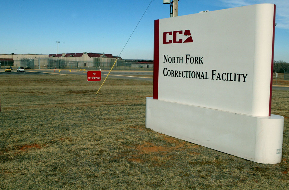 Photo - The North Fork Correctional Facility in Sayre is shown in 2004. The private prison, the biggest business in this small western Oklahoma town, houses inmates from California. AP File Photo