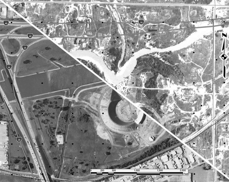 Historic aerial photos allow field inspectors at the Oklahoma Corporation Commission to pinpoint oil and natural gas wells. This photo shows the area around the American Indian Cultural Center and Museum in Oklahoma City in 2010, at left, and 1941. Photos provided