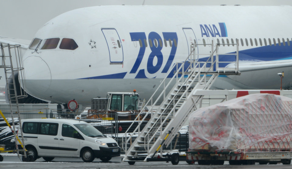 Photo - A Boeing 787 'Dreamliner' of the Japanese airline All Nippon Airways (ANA) is parked at the airport in Frankfurt , Germany Thursday Jan. 17, 2013. Europe's air safety authority has followed the United States in ordering the grounding and safety review of Boeing's 787 Dreamliner following a series of incidents with the aircraft in recent days.  ( AP Photo/ Arne Dedert)