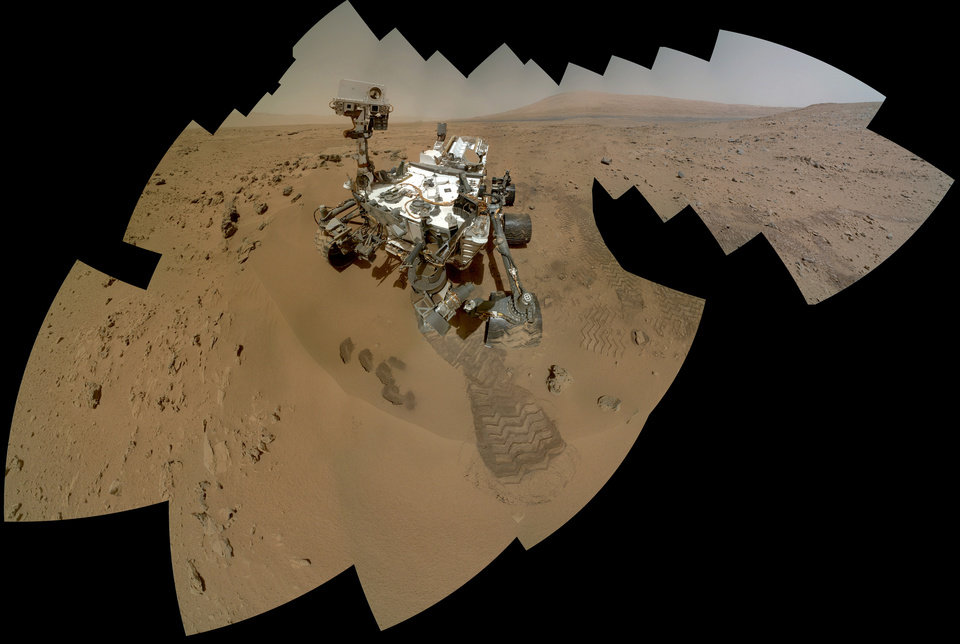 FILE - This file image provided by NASA shows a color self-portrait of the Mars rover Curiosity. It is set to drive toward a Martian mountain in mid-February after drilling into a rock. On the 84th and 85th Martian days of the NASA Mars rover Curiosity\'s mission on Mars (Oct. 31 and Nov. 1, 2012), NASA\'s Curiosity rover used the Mars Hand Lens Imager (MAHLI) to capture dozens of high-resolution images to be combined into self-portrait images of the rover. (AP Photo/NASA/JPL-Caltech/MSSS, File)