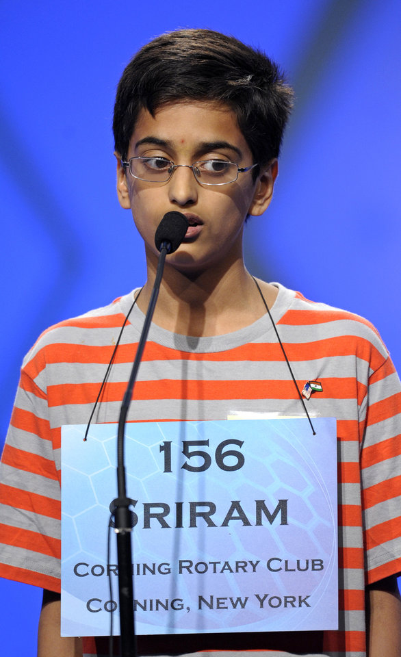Photo - FILE - In this May 30, 2013 file photo, Sriram Hathwar, 13 of Painted Post, N.Y., spells