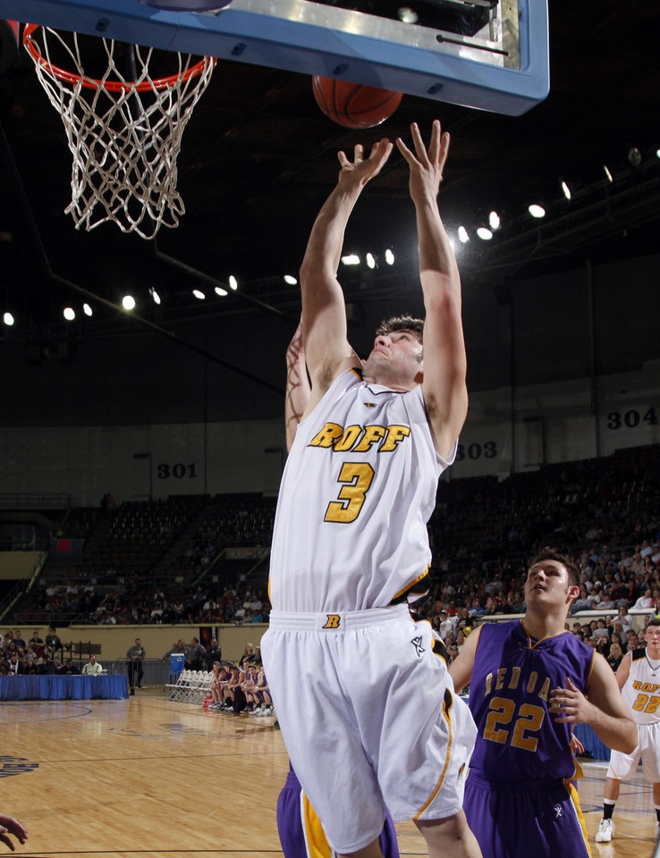 Photo - Roff's Brendon Barr shoots during the final of the Class B boys basketball state tournament  between Roff and Red Oak at the State Fair Arena, Saturday, March 6, 2010, in Oklahoma City. Photo by Sarah Phipps, The Oklahoman