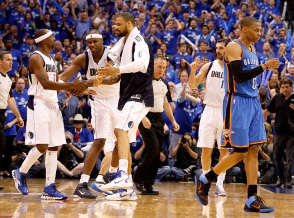 Oklahoma City's Russell Westbrook (0) walks away after getting a technical foul during game 5 of the Western Conference Finals in the NBA basketball playoffs between the Dallas Mavericks and the Oklahoma City Thunder at American Airlines Center in Dallas, Wednesday, May 25, 2011. Photo by Bryan Terry, The Oklahoman