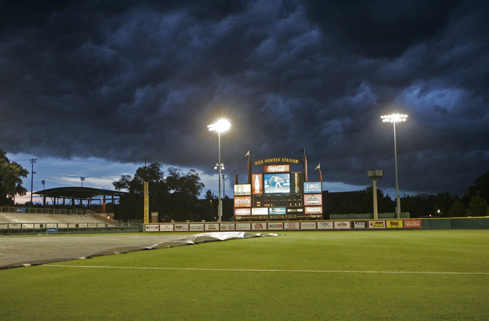 Photo - Kennesaw State and Georgia Southern contest was called for a rain delay in the sixth inning of an NCAA regional college baseball game on Saturday,  May 31, 2014, in Tallahassee, Fla.   (AP Photo/Steve Cannon)