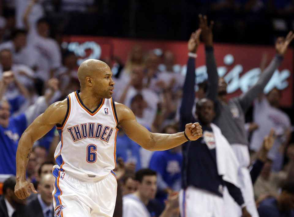 Oklahoma City\'s Derek Fisher (6) celebrates a three-point shot during Game 2 in the second round of the NBA playoffs between the Oklahoma City Thunder and the Memphis Grizzlies at Chesapeake Energy Arena in Oklahoma City, Tuesday, May 7, 2013. Photo by Sarah Phipps, The Oklahoman
