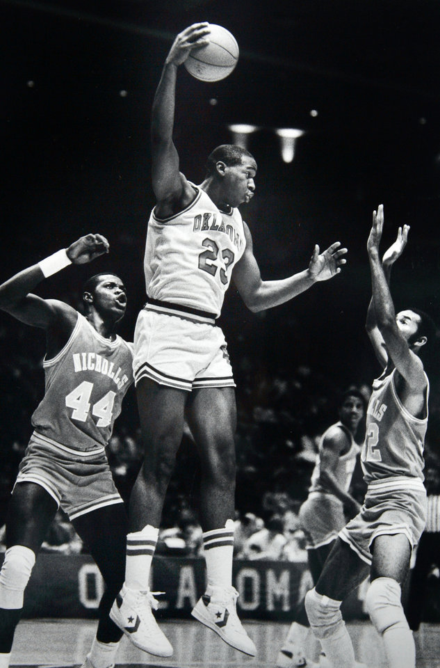 Former OU basketball player Wayman Tisdale. Staff photo by Doug Hoke. Photo taken 1/14/1984, Photo published 2/24/1988 in The Daily Oklahoman. ORG XMIT: KOD