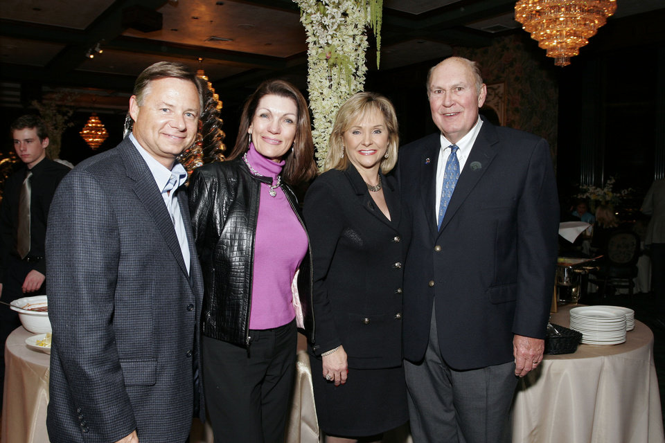 Photo - Clif Davis, Susan Coles, Congresswoman Mary Fallin, and Willard Scott at the after party for the Centennial Spectacular at the Ford Center Friday, Nov. 16, 2007. By David Faytinger, for The Oklahoman.